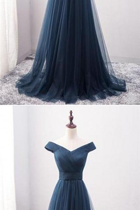 Elegant Navy Blue Tulle Long Prom Dress, Cheap Formal Prom Gowns , Formal Evening Party Gowns ,Plus Size Women Dresses