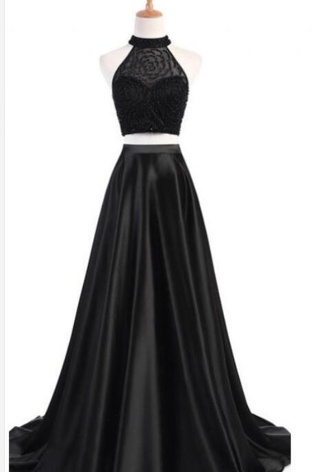 Luxury Beaded Crystal High Neck Two Pieces Prom Dress,Black Satin Long Prom Dresses, Formal Evening Party Gowns