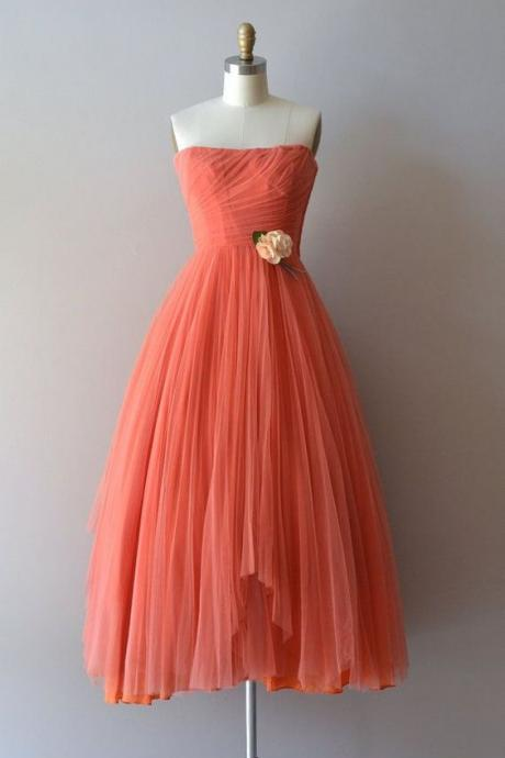Strapless A Line Tulle Tea Length Homecoming Dress, Cheap Women Prom Gowns , Short Graduation Gowns
