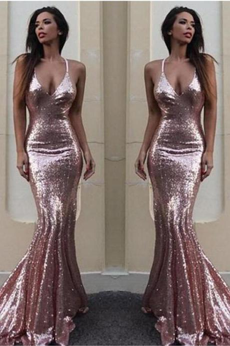 Sparkly Blush Pink Sequin Mermaid Prom Dress. Women Party Dress, Formal Evening Dress