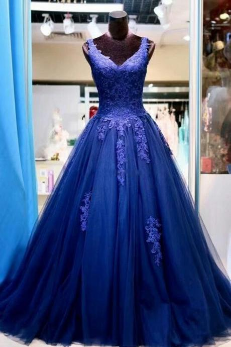 Sexy V-Neck Tulle A Line Women Prom Dress 2019 Elegant Lace Appliqued Women Evening Dresses, Custom Made Prom Party Gowns