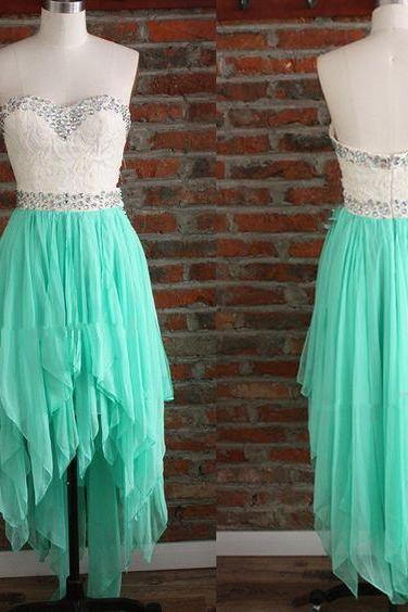 High low Mint Green Chiffon Beaded Prom Dress 2019 Plus Size Women Party Gowns , Short Pageant Gowns