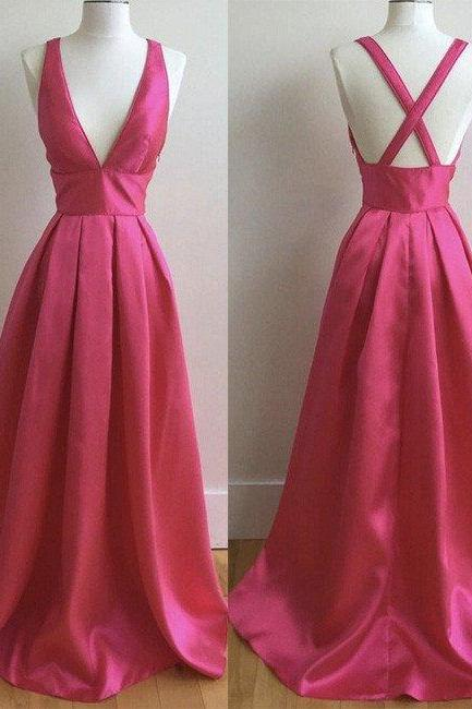 Sexy A Line V-Neck Fuchsia Satin Long Prom Dress Women Party Dress ,Plus Size Evening Party Gowns .