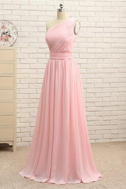 Cheap One Shoulder Pink Ruched Long Bridesmaid Dress Custom Made Prom Gowns A Line Women Party Gowns