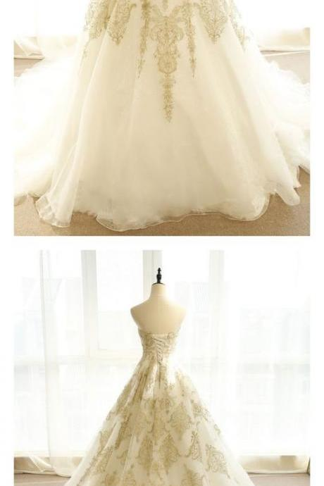 Elegant Gold Lace Sweet Pricess Wedding DRESS,Custom Made Women Bridal Dress