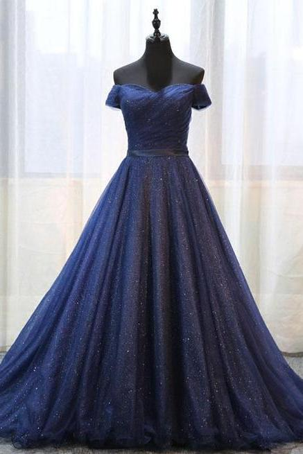 Luxury Navy Blue Sequin Long Pom Dress Sweet 16 Prom Gowns Lace Up Women Party Dress, Sexy Ball Gown Prom Dresses