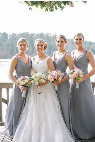 Sexy V-Neck Gray Chiffon Long Bridesmaid Dress Off the Shoulder Bridesmaid Gowns 2019 Custom Made Maid Of Honor Gowns
