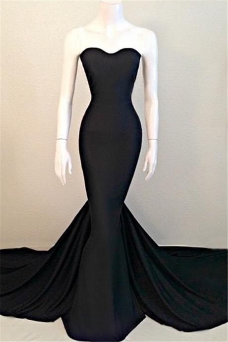 Plus Size Black Satin Mermaid Prom Dress Fashion Women Party Gowns ,Mermaid Evening Gowns