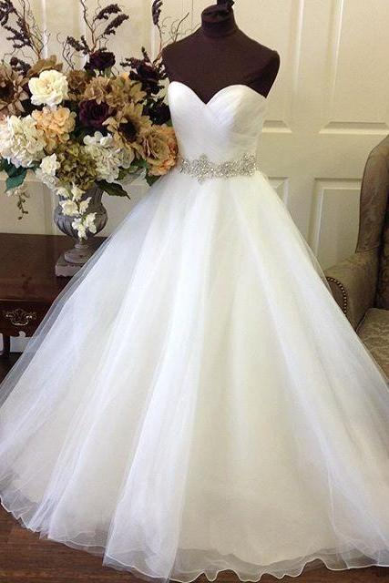 Elegant White Beaded Ruffle Organza Ball Gown Wedding Dress ,Off the Shoulder Sweet Wedding Gowns ,Pricess Bridal Gowns