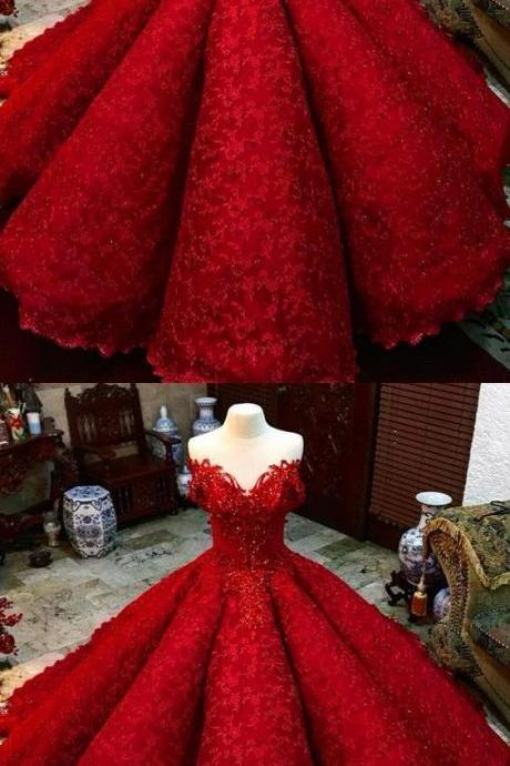Luxury Ball Gown Red Beaded Lace Prom Dress Plus Size Pricess Wedding Prom Gowns Plus Size Women Dresses