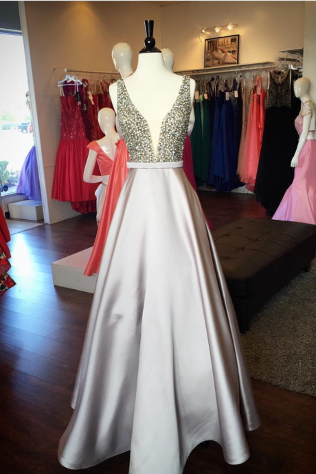 Gray Satin Long Prom Dress, Sexy Beaded Prom Gowns ,Formal Evening Dress, Plus Size Women Party Gowns ,