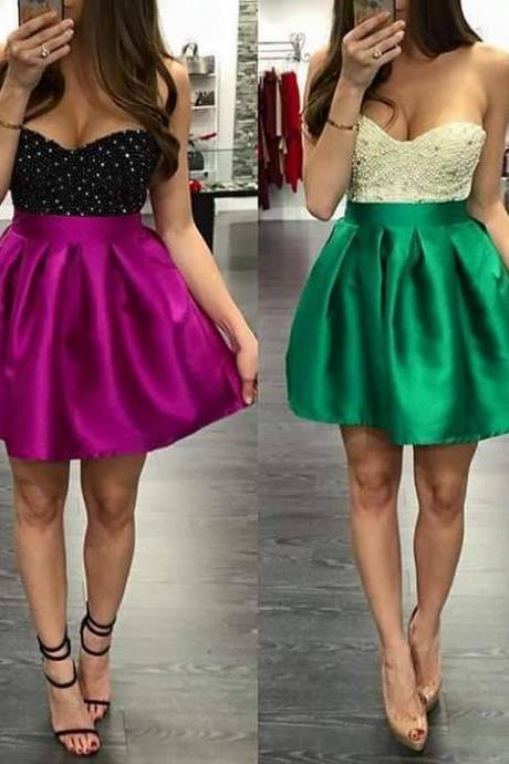 Luxury Beaded Fuchsia Satin Short Homecoming Dress A Line Crystal Sweet 16 Prom Dress Custom Made Pageant Party Dress