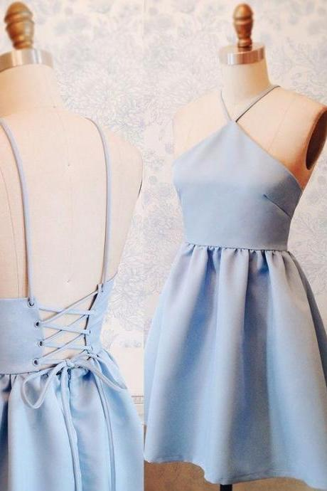 Short Homecoming Dress,Blue Short Cocktail Dress, Mini Prom Gowns, Custom Made Wedding Party Gowns