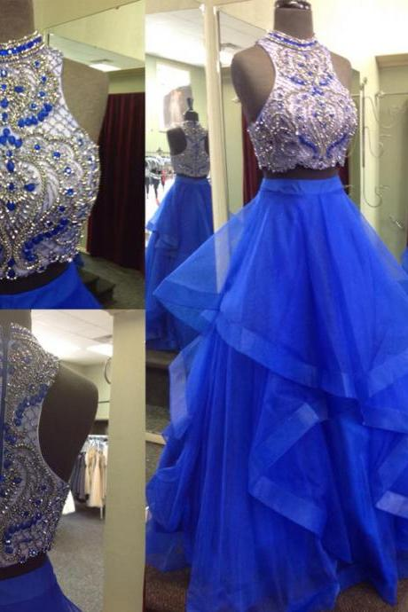 Luxury Beaded Crystal Two Pieces Long Prom Dress Custom Made Long Prom Gowns For Wedding , Prom Gowns