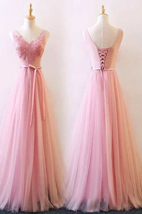 A Line Pink Tulle Long Prom Dress Custom Made Lace Prom Gowns ,Long Bridesmaid Dress