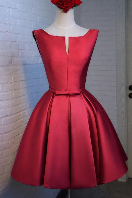 Custom Made Red Satin Short Bridesmaid Dress A Line Homecoming Party Gowns Plus Size