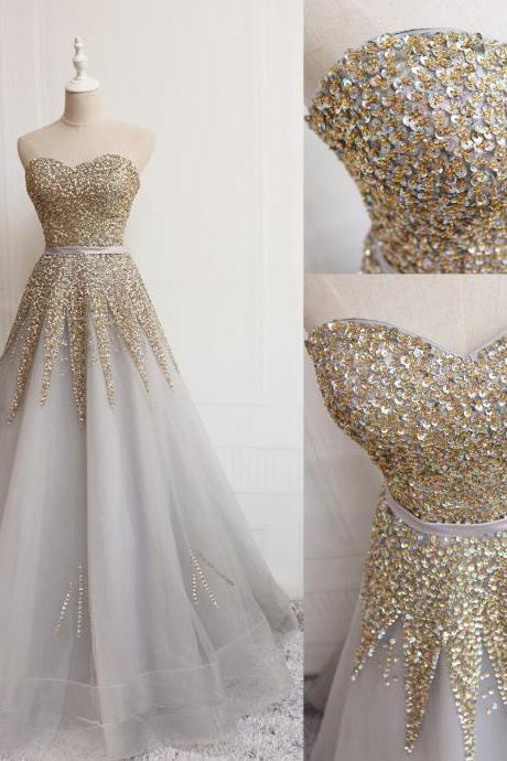 Luxury Floor Length Gold Sequin Beaded Long Prom Dress Custom Made Prom Party Gowns ,Sweet 16 Quinceanera Dress,