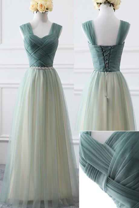A Line Green Tulle Ruffle Long Bridesmaid Dress Custom Made Maid Of Honor Gowns Plus Size Party Gowns