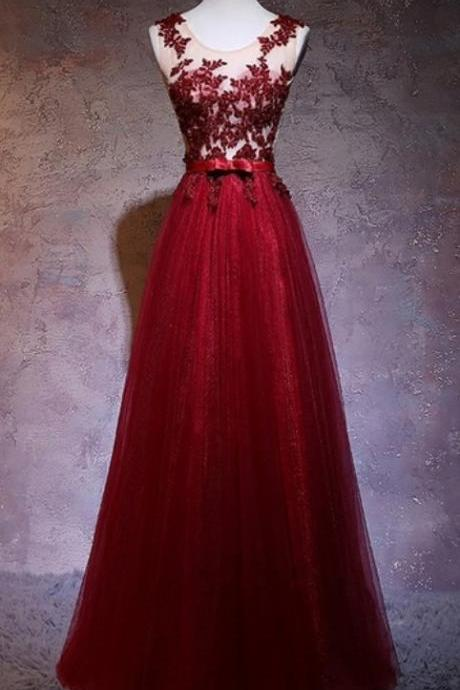 Formal Evening Dress Burgundy Tulle Long Prom Dress A Line Women Formal Gowns