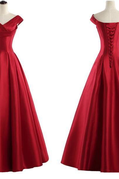 Red Satin Long Prom Dress A Line Women Pageant Gowns Plus Size Formal Evening Dress