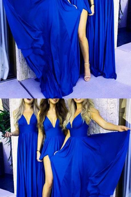 Fashion Royal Blue Satin Long Bridesmaid Dress With High Split 2019 Custom Made Wedding Party Gowns A Line Dresses