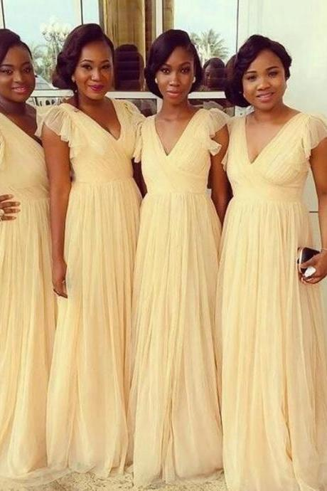 Custom Made Yellow Chiffon Bridesmaid Dress 2019 A Line Long Maid Of Honor Gowns Women Party Gowns