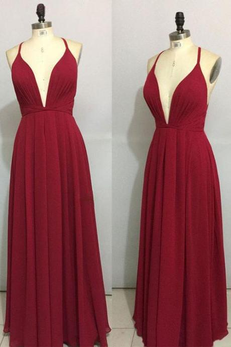 Cheap A Line Red Chiffon Long Prom Dress,Off Shoulder Prom Dresses, Sexy Women Party Gowns ,Evening DRESS