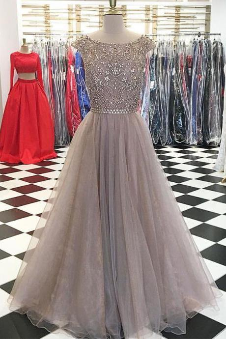 Luxury Beaded Scoop Neck Long Prom Dress 2019 Custom Made Formal Evening Party Gowns A Line Prom Gowns