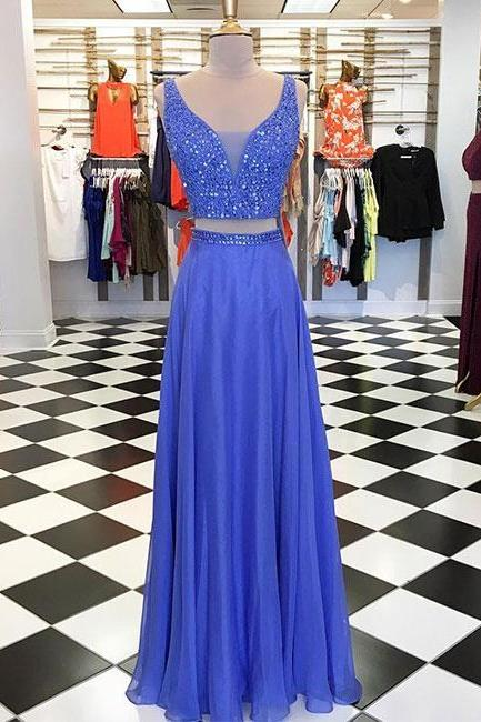 New Arrival Two Pieces Blue Beaded Long Prom Dress A Line Wedding Party Gowns Custom Made Prom Gowns