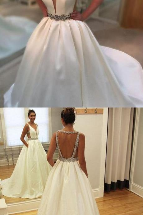 New Arrival White Satin Ball Gown Wedding Dresses Sexy Backless China Wedding Gowns 2019