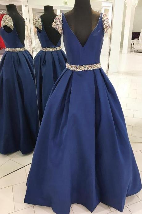 Deep V-Neck Beaded Ball Gown Prom Dress With Caped Sleeve , Sweet 16 Prom Dress, Sexy Ball Gown Quinceanera Dress, A Line Women Pageant Gowns