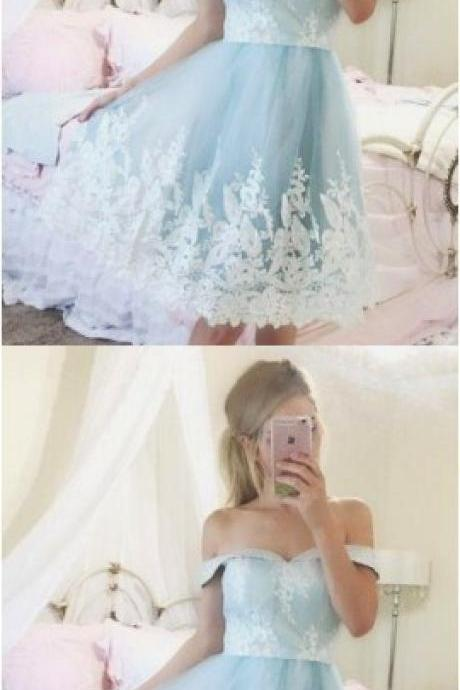 New Arrival Light Blue Tulle Short Homecoming Dress With White Lace Sweet 16 Prom Gowns ,Short Cocktail Dress, Bridesmaid Dress Short
