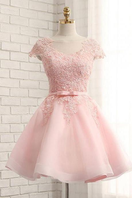 Custom Made Pink Tulle Short Lace Homecoming Dress Strapless Women Party Gowns A Line Party Dress Short 2019 Bridesmaid Party Gowns