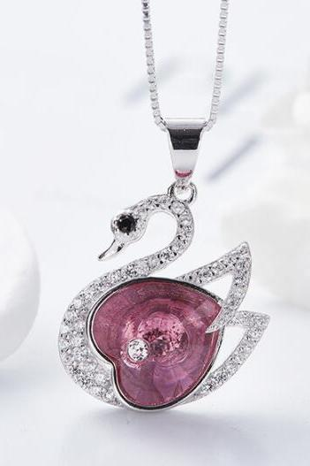 Crystals from Swarovski Necklace Women Pendants S925 Sterling Silver Jewelry Swan Shape Bijoux New 2019 Women Jewelry