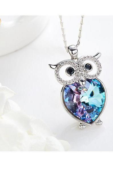 Crystals from Swarovski Necklace Women Pendants S925 Sterling Silver Jewelry OWL Bijoux New 2019 Women Jewelry