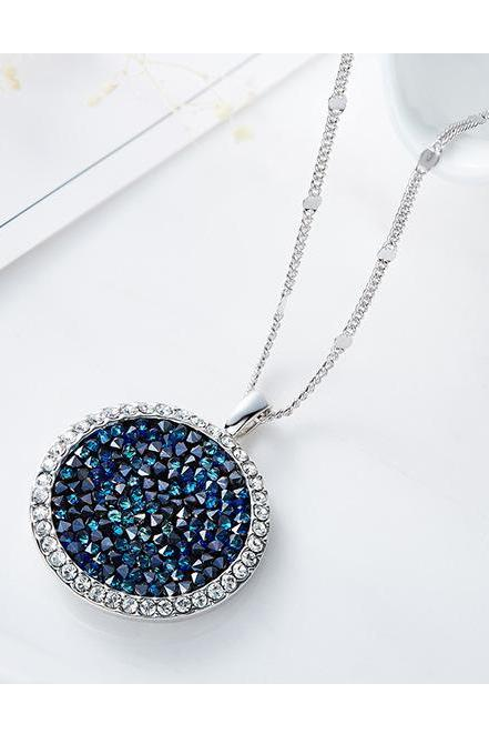 Women Necklace Crystals from Swarovski Beads Pendants Necklaces Round Jewelry Elegant Fashion Blue Bijous Sexy Female