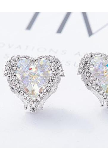 Crystals from Swarovski S925 Sterling Silver Jewelry Stud Earrings Women Earring Heart Austrian Rhinestone Elegant Fashion