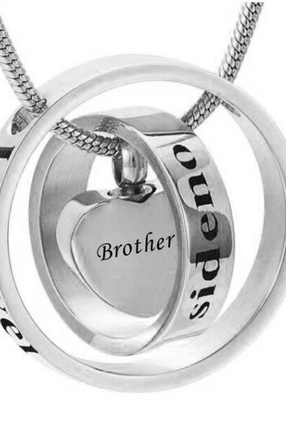 Custom personality is different to call the ring heart urn funeral pyre funeral pyre necklace fashion jewelry pendant For Brother