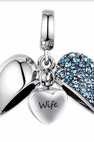 Unique call heart urn funeral ashes Wife cremation necklace fashion jewelry accessorues