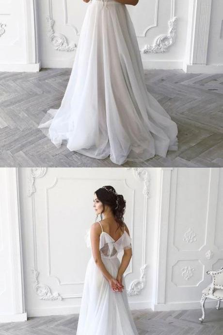 Simple White Chiffon Bohemian Wedding Dress A Line Ruffle Beach Women Bridal Gowns