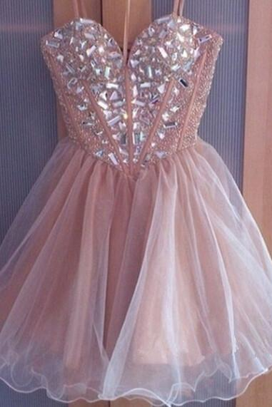 Shiny Crystal Beading Short Sweet 16 Prom Dress, Fashion Women Prom Gown Short, Short Homecoming Party Gowns ,Champagne Tulle Short Party Gowns