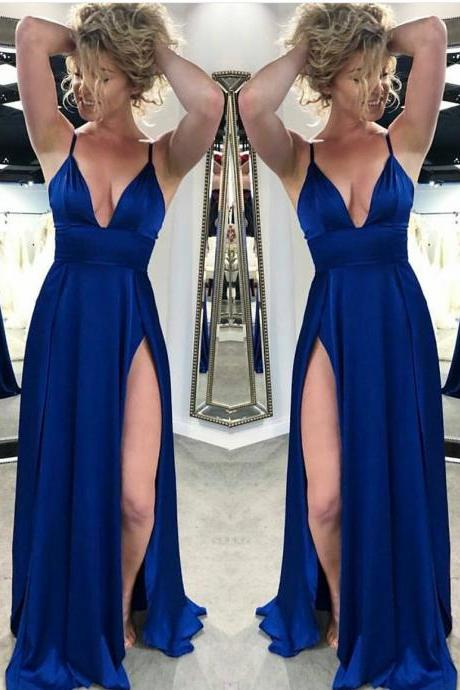Royal Blue Satin Side Slit Long Prom Dress Spaghetti Strap V-Neck Prom Dresses Plus Size Formal Evening Party Gowns 2019
