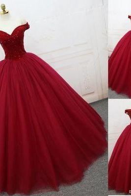 New Arrival Burgundy Tulle Ball Gown Prom Dress, Sweet Quinceanera Dress, Custom Made Long Prom Gowns