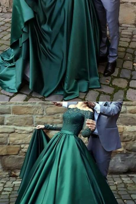 Long Sleeve Green Lace Prom Party Dresss 2019 A Line Long Evening Dress, Plus Size Women Party Gowns