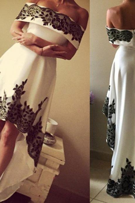 White High Low Satin Prom Dress With Black Lace Appliqued 2019 A Line Off Shoulder Women Party Dress, Sexy Pageant Dress