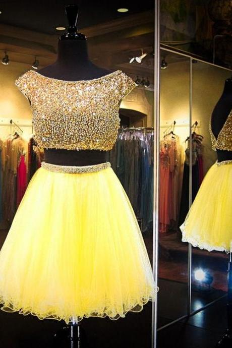 Luxury Beaded Crystal Two Pieces Short Prom Dress Ball Gowns Yellow Tulle Homecoming Party Gowns Custom Made Short Party Gowns
