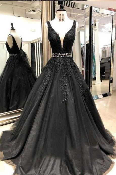 Black Lace Beaded Tulle Long Prom Dress, Custom Made V-Neck Lace Prom Party Gowns ,Formal Evening Dress Plus Size 2019