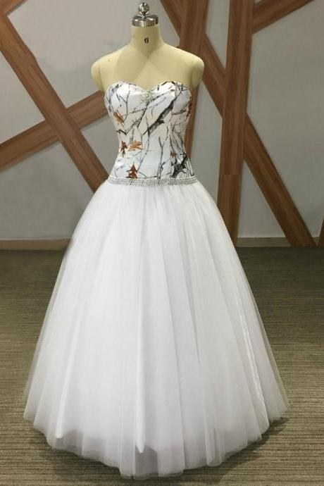 Elegant White Tulle Wedding Dress Camo A Line Women Bridal Dresses , Bohemian Wedding Dress