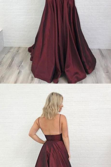 Floor Length Burgundy Satin Prom Dress Custom Made Women Party Gowns A Line Prom Gowns Cheap