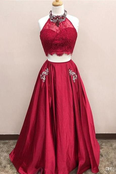 African Red Prom Dresses Long 2019 Sexy Backless Lace Appliques Two Pieces Arabic Evening Party Pageant Gowns Crystal New Vestido de Festa